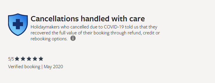 Cancellations handles with care award - VRBO screenshot
